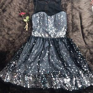 Ruby Rox formal full mini dress black silver Sz 13
